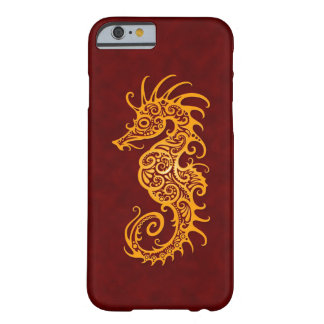Intricate Golden Red Seahorse Design Barely There iPhone 6 Case