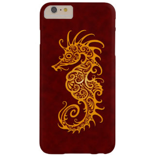 Intricate Golden Red Seahorse Design Barely There iPhone 6 Plus Case