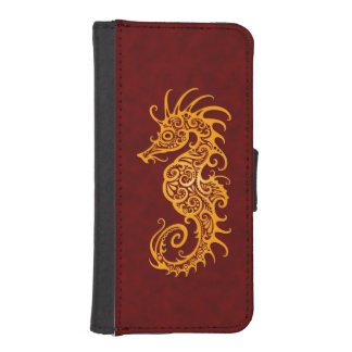 Intricate Golden Red Seahorse Design Phone Wallet Cases