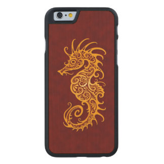 Intricate Golden Red Seahorse Design Carved® Maple iPhone 6 Slim Case