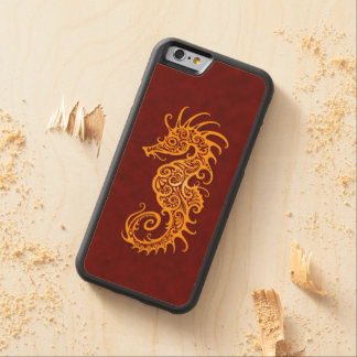 Intricate Golden Red Seahorse Design Carved® Maple iPhone 6 Bumper Case