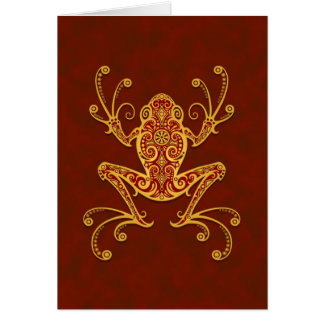 Intricate Golden Red Tree Frog Card