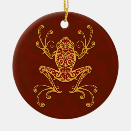 Intricate Golden Red Tree Frog Ceramic Ornament