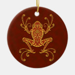 Intricate Golden Red Tree Frog Christmas Ornament