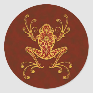 Intricate Golden Red Tree Frog Classic Round Sticker