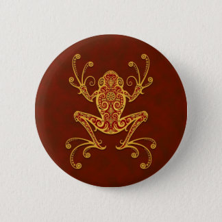 Intricate Golden Red Tree Frog Pinback Button