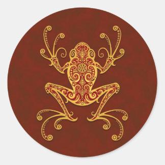 Intricate Golden Red Tree Frog Round Sticker