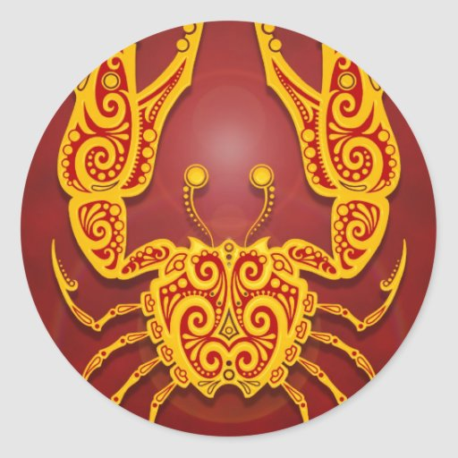Intricate Golden Red Tribal Cancer Round Sticker