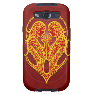 Intricate Golden Red Tribal Gemini Samsung Galaxy SIII Cases