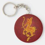 Intricate Golden Red Tribal Sagittarius Basic Round Button Keychain
