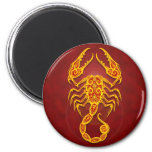 Intricate Golden Red Tribal Scorpio 2 Inch Round Magnet