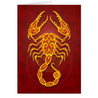 Intricate Golden Red Tribal Scorpio Card