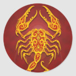 Intricate Golden Red Tribal Scorpio Round Sticker