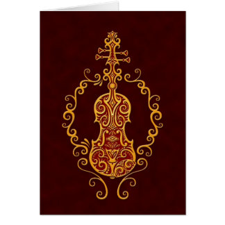 Intricate Golden Red Violin Design Greeting Cards