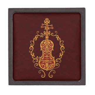Intricate Golden Red Violin Design Gift Box