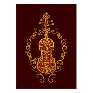 Intricate Golden Red Violin Design Large Business Cards (Pack Of 100)