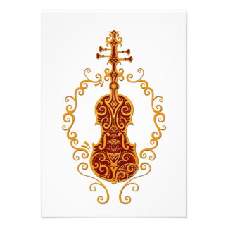 Intricate Golden Red Violin Design on White Personalized Announcement
