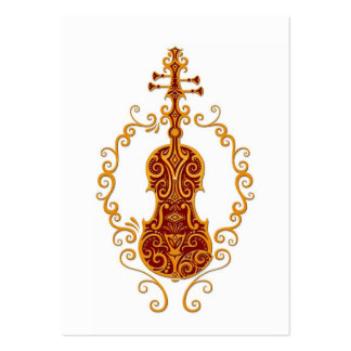 Intricate Golden Red Violin Design on White Large Business Card