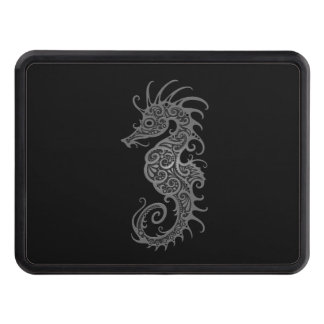 Intricate Gray Seahorse Design Hitch Cover
