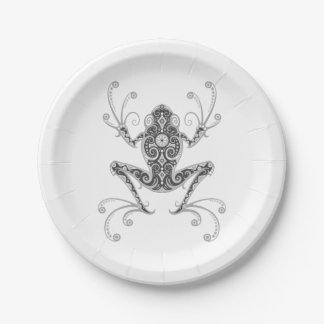 Intricate Gray Tree Frog Paper Plate
