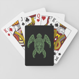 Intricate Green and Black Sea Turtle Poker Deck