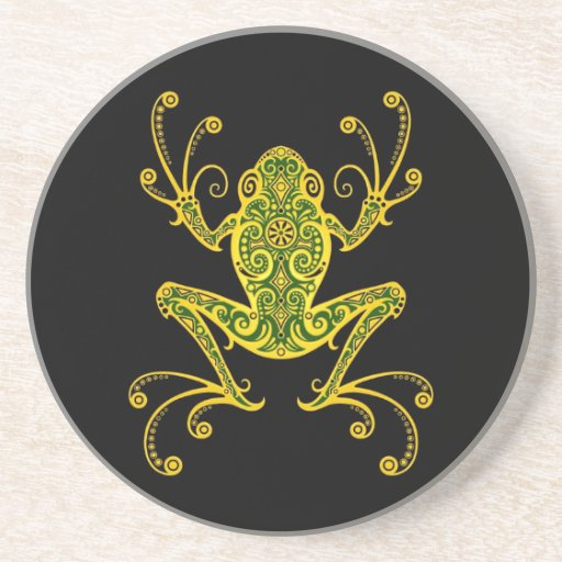 Intricate Green and Black Tree Frog Coasters