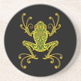 Intricate Green and Black Tree Frog Drink Coaster