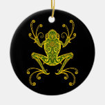 Intricate Green and Black Tree Frog Christmas Ornament
