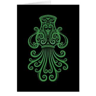 Intricate  Green Aquarius Zodiac on Black Card