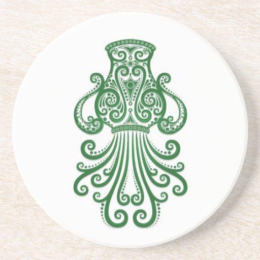 Intricate Green Aquarius Zodiac on White Coaster