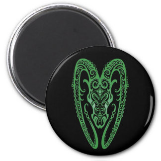 Intricate Green Aries Zodiac on Black 2 Inch Round Magnet