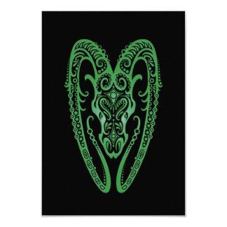 Intricate Green Aries Zodiac on Black Custom Invitation