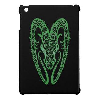 Intricate Green Aries Zodiac on Black iPad Mini Case