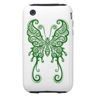 Intricate Green Butterfly on White iPhone 3 Tough Cover