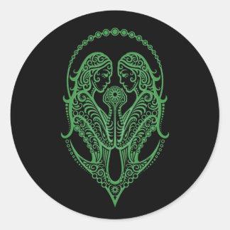 Intricate Green Gemini Zodiac on Black Classic Round Sticker