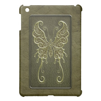 Intricate Green Leather Butterfly Case For The iPad Mini