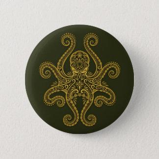 Intricate Green Octopus Button