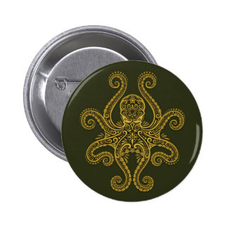 Intricate Green Octopus Button