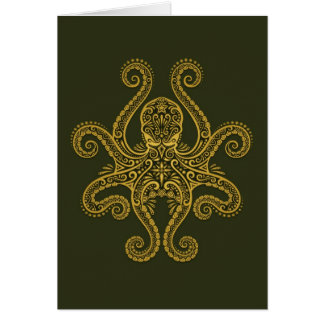 Intricate Green Octopus Card
