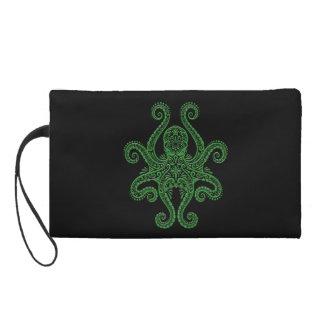 Intricate Green Octopus on Black Wristlet Purse