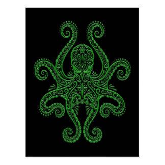 Intricate Green Octopus on Black Postcard