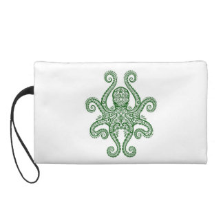 Intricate Green Octopus on White Wristlet Purses