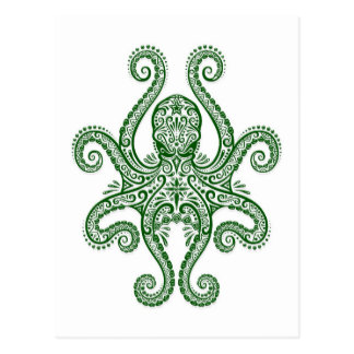 Intricate Green Octopus on White Postcard