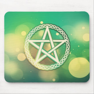 Intricate green pentacle mouse pad