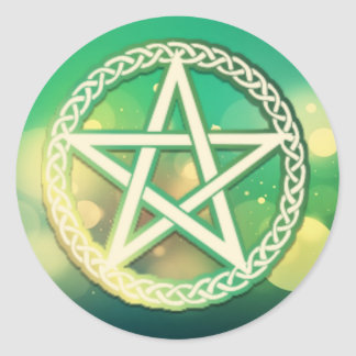 Intricate green pentacle sticker