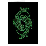 Intricate Green Pisces Zodiac on Black Greeting Card