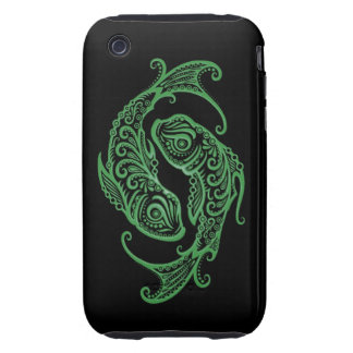 Intricate Green Pisces Zodiac on Black iPhone 3 Tough Covers