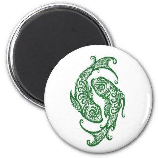 Intricate Green Pisces Zodiac on White Fridge Magnets