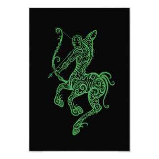 Intricate Green Sagittarius Zodiac on Black Card