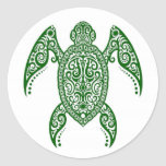 Intricate Green Sea Turtle on White Classic Round Sticker